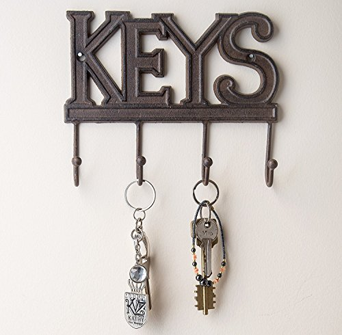 Key Holder - Keys - Wall Mounted Key Hook - Rustic Western Cast Iron Key Hanger - Decorative Key Organizer Rack with 4 Hooks - With Screws and Anchors - 6x8 inches - by Comfify (Rust Brown) - Key Wall Decor
