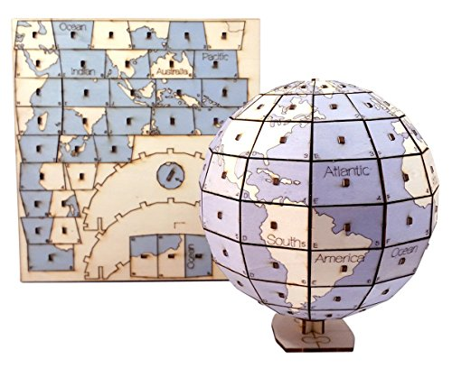 DIY Wooden 3D Puzzle | World Map Globe Puzzle | Best Wood Craft Kit for Kids, Teens, Adults | Fun & Educational Self Assembly Toys | 3D Map of The World Puzzle | Learning Gift for Children