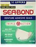 SEA-BOND Denture Adhesive Wafers Uppers Fresh Mint 30 Each