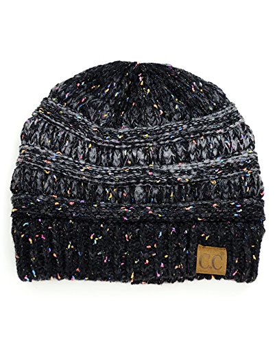 C.C Unisex Colorful Confetti Soft Stretch Cable Knit Beanie Skull Cap - Ombre Black