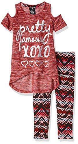 XOXO Big Girls' 2 Piece Cold Shoulder Top and Printed Legging Set, Cranberry, 7/8