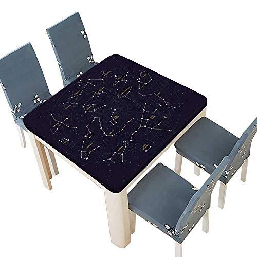 PINAFORE Printed Fabric Tablecloth Sky map Constellations Andromeda Lacerta Cygnus lyra Hercules Decorative Tablecloths Kitchen Room 33.5 x 33.5 INCH (Elastic Edge) -