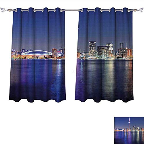 Toronto Blue Pearl (Blackout Living Room/Bedroom Window Curtains Blue Canada Toronto Sunset over the Lake Panorama Urban City Skyline with Night Lights Blue Pink Peach Blackout 2 Panels (W72 x L45 -Inch 2 Panels))