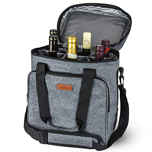 Freshore Insulated Wine Carrier 6 Bottle Bag Tote Removable Padded Divider...