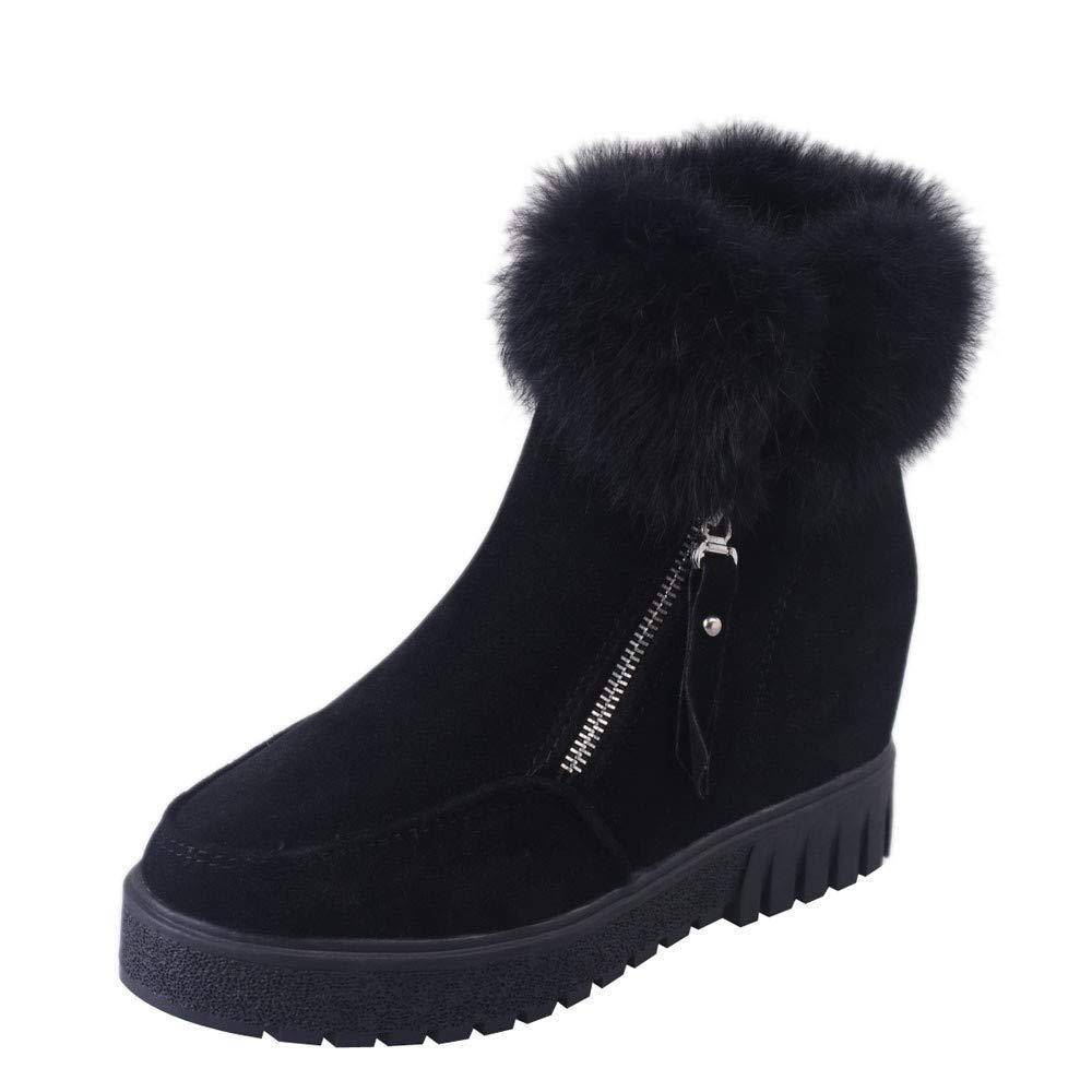 ZHRUI Stiefel Damen Schuhe Freizeitschuhe Classics Seitliche Reißverschluss Stiefel Schnee Aufladungen Plus SAMT Erhöhungs Aufladungen Damenstiefel Stiefel (Farbe   Schwarz Größe   36 EU)