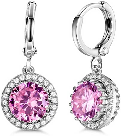 GULICX Silver Tone Round Clear CZ Zircon Rhinestone Party Women Drop Dangle Earrings