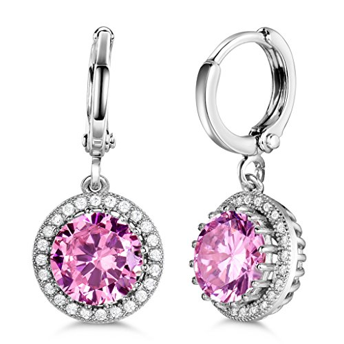 Pink White Rhinestone (GULICX Silver Tone Created Pink Crystal Eternity Rhinestone Promise Party Dangle Earrings)