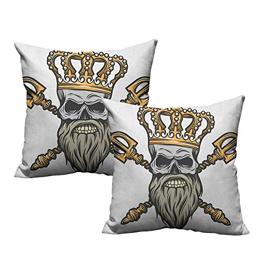 RuppertTextile Square Pillowcase King Ruler Skull Head with Gray Beard Crossed Royal Scepter Cartoon Seemed Image Anti-Fading W18 xL18 2 pcs