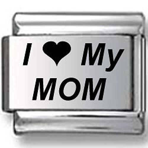 I Love My Mom Laser Italian Charm