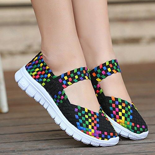 Mujer Al Aire Negro Calidad Paja Bajas Jogging Colorido Cómodas Libre Para Verano Zapatos De Sandalias Deportivas Respirable Primera Sw664q