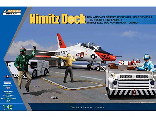 KIN48057 1:48 Kinetic Nimitz Deck (T-45 Goshawk, Carrier Deck w/JBD & Catapult, MD3, Fire Engine, Tow Tractor, Engine Starter) [MODEL BUILDING KIT]