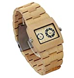 Ideashop Double Movement Quartz Maple Wood Watches Fashion Wristwatch Gift for Men