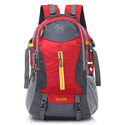 HEROZ Hacker 50 litres Nylon Travel Laptop Backpack Water Resistant Slim Durable Computer Book Bag Tracking Fits Up to 17.3-inch Laptop (058- All) (Grey & Red)