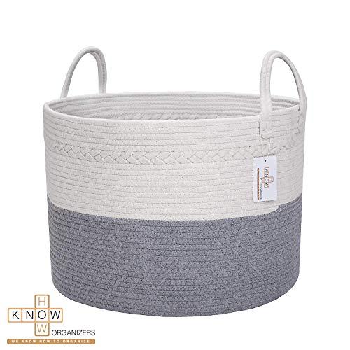 Large Cotton Rope Laundry Basket - Baby Laundry , Woven Laundry Basket, Dog Toy Basket, XXL Blanket Basket, Long Handles, Decorative Nursery Hamper | Grey White 20'' x 13'' Wide Extra Large (Grey Basket Stair Wicker)