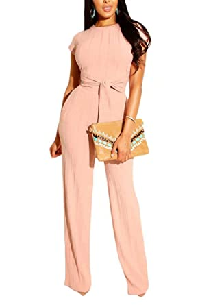 3bf576b56cf Women Two Piece Tracksuit Suit Ribbed Crop Top and Wide Leg Pant Set  Jumpsuit Pink S