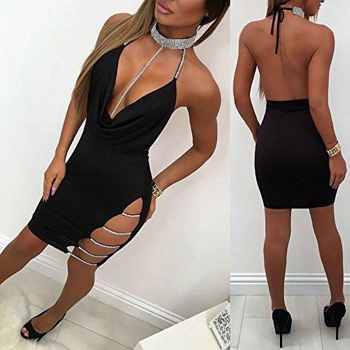 Sexy Halter Party Dress, Sale Womens Summer Deep V Neck Backless Slit Sequin Clubwear Night Mini Cami Dress (Black, M) by QIBOOG (Image #1)