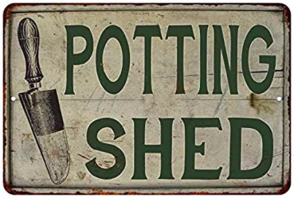 Chico Creek Signs Potting Shed Vintage Look Garden Chic 8x12 Metal Sign  M8120020045