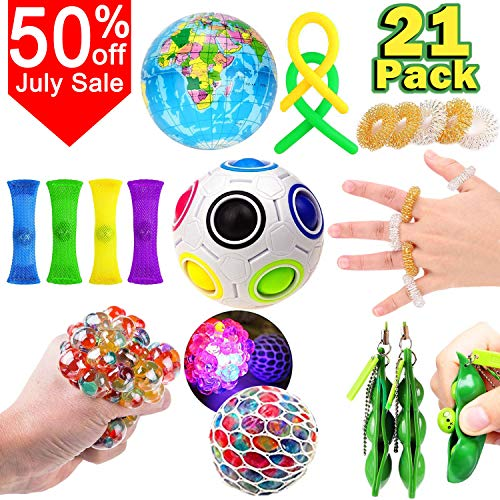 21 Pack Sensory Fidget Toys Stress Set-Relief Hand Fidget Toys for Kids Adults Grape Ball Massage Rings Rainbow Ball Sensory Therapy Toys for ADHD Autism Stress Anxiety Easter Basket Stuffers Birthday