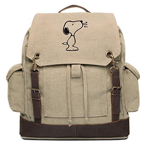 Raz Pack - Snoopy Raz Rucksack Backpack with Leather Straps, Khaki & Bk