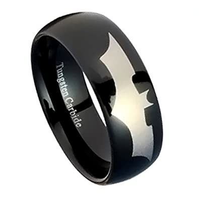 black tungsten wedding band tungsten carbide ring for men with batman emblem batman ring - Tungsten Wedding Ring
