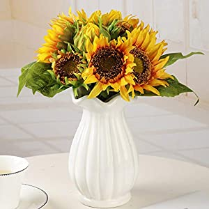 Aonewoe Sunflowers Artificial Flowers Silk Sunflowers Bouquet Fake Flowers Arrangements for Wedding Home Party Decoration Bridal Bouquet(1 Pcs)