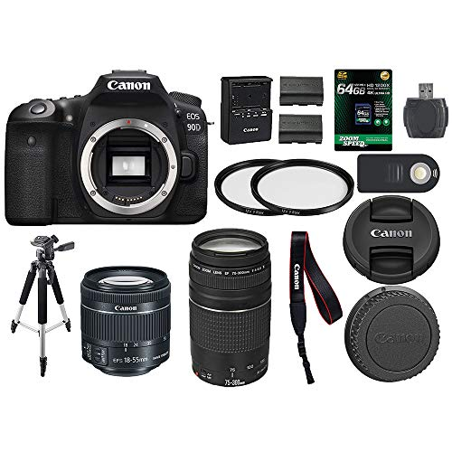 Canon EOS 90D Digital SLR Camera + Canon 18-55mm STM + Canon 75-300mm III Lens + SD Card Reader + 64gb SDXC + Remote + Spare Battery + Accessory Bundle – International Version