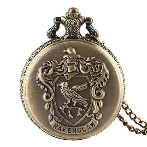 Pocket Watch, Harry Potter Ravenclaw Theme Pocket Watch Classic Ravenclaw Designer Quartz Pocket Watch with Necklace Chain for Men Women - Ahmedy Pocket (Designer Pocket Watch)