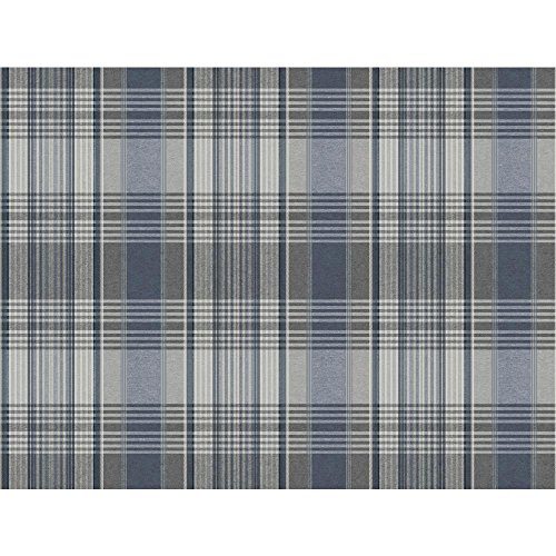 York Wallcoverings Nautical Living Bartola Plaid Removable Wallpaper, Faded Deni Blue/Chambray Blue/Mediu Grey/Light Grey/White ()