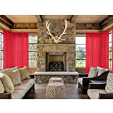 Macochico 100Wx 120L (1 Panel) Red Sheers Outdoor Indoor Thin Curtains Privacy Protection Drapes Panels for Bedroom Living Room Patio Garden