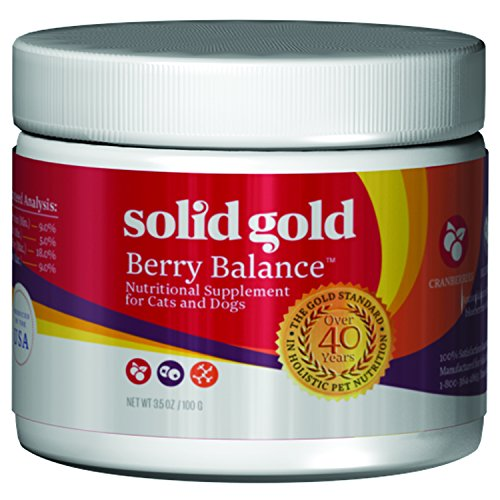 Solid Gold Berry Balance Powder for Urinary Tract Health in Cats & Dogs; Natural, Holistic Grain-Free Supplement with Antioxidant-Rich Cranberries & Blueberries; 3.5 oz