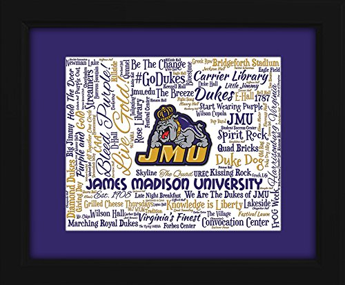 James Madison University (JMU) 16x20 Art Piece - Beautifully matted and framed behind glass