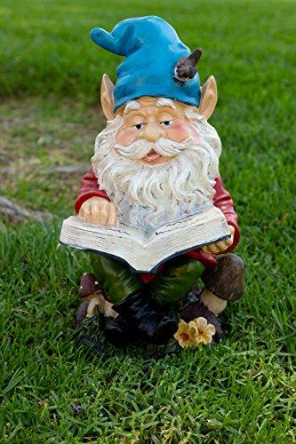 - Alpine Gnome Reading a Book Statue, 14 Inch Tall