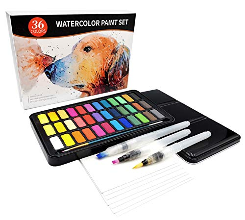 Watercolor Paint Set, 36 Colors with 3pcs Water Brush Pens, 1pc Nylon Paint Brush, 8 Sheets 300g Watercolor Paper, Lightweight and Portable for Kids, Adults, Artists, Beginners