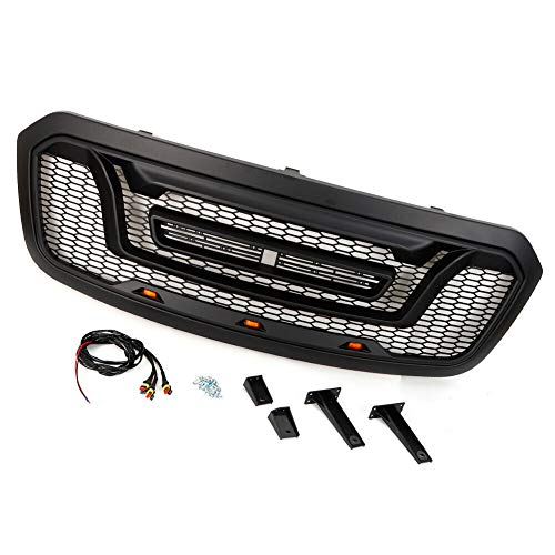 Upper Grille, TBVECHI Front Upper Grille Honeycomb Style Plastic Grille Replace w/ 3 LED Lights Set Replacement Suit For 13-18 Dodge Ram 1500