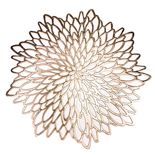20 Pack Gold Metallic Round Placemats Laminated Vinyl Leaf Dining Table Decorative By Snowkingdom