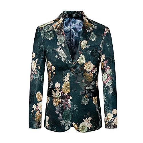 WULFUL Men's Blazer Slim Fit Two Button Tuxedo Business Wedding Party Floral Suit Jacket]()