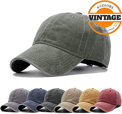 d Distressed Baseball Cap Twill Adjustable Dad Hat,I-army Green,One Size ()