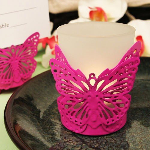 (Latticed Butterfly Pink Butterfly Shaped Steel Candle/Card Holder with Glass Cup and Tea Light Can - 24 count)