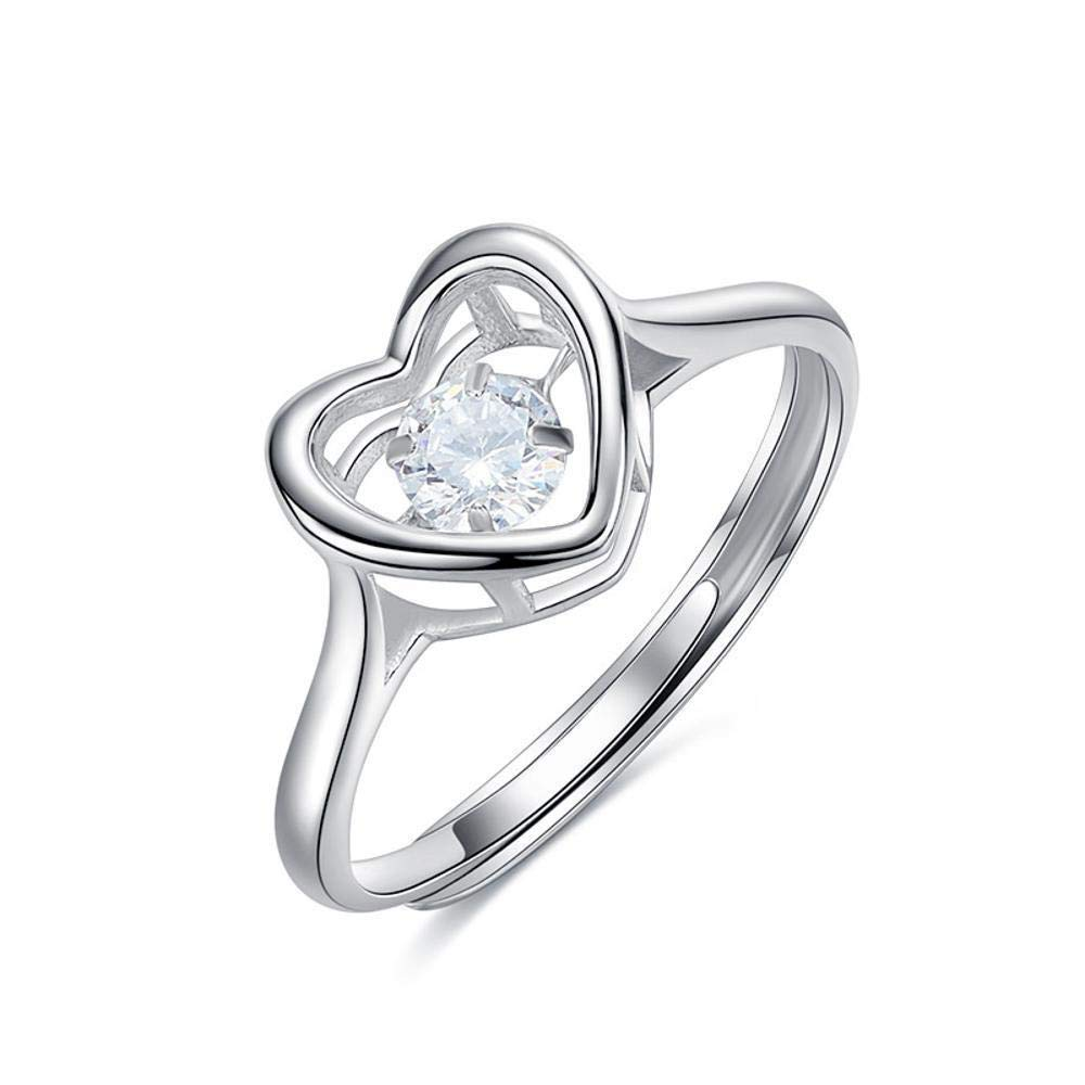 DTZH Rings Jewellery RingS925 Pure Silver Inlaid Zircon HeartShaped Simple Hollow Female Ring Give it to Dear People