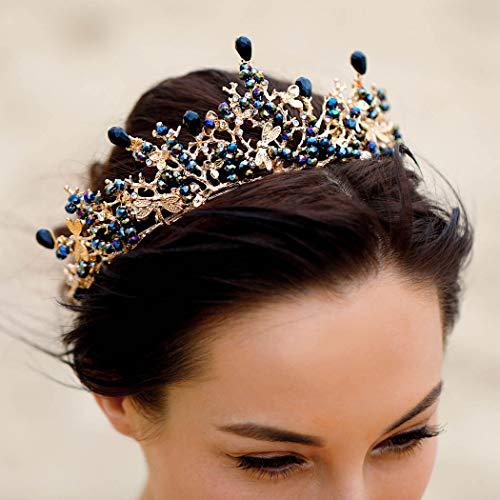 Unicra Wedding Crown Dragonfly Bridal Tiaras Bronze Flower Headband Jewelry Accessories for Bride