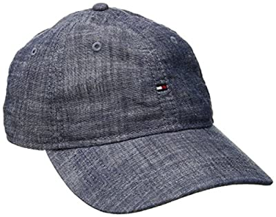 Tommy Hilfiger Men's Chambray Mini Flag Baseball Dad Cap by Tommy Hilfiger Headwear Child Code