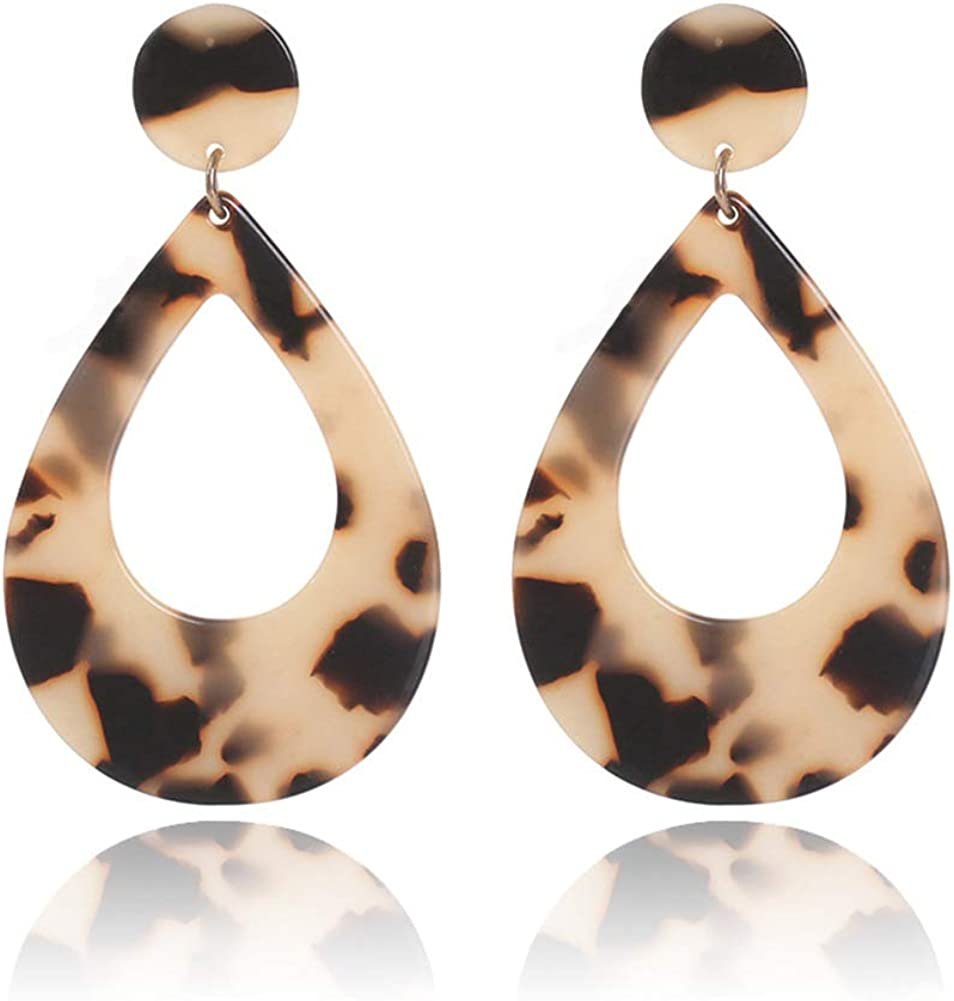 La Savanna dangle earrings Tortoise shell Tropical leaf resin earring Leopard print tropical leaf acetate earrings