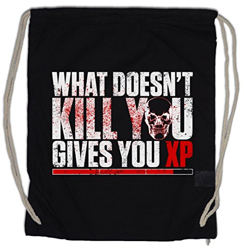 WHAT DOESN'T KILL YOU GIVES YOU XP Drawstring Bag Gym Sack