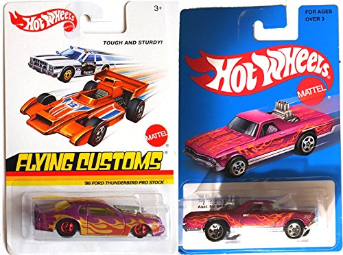 Hot Wheels Flames Ford Thunderbird & '68 El Camino Heritage Blue Card 2016 On Fire Car Set - pipes Flying Customs Pro Stock Purple Racers in PROTECTIVE (Stock Y-pipe)