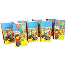 Goodie and Party Favor Bags (8 pack) for Lego-Inspired Parties - Perfect for Birthday Party Favors, Lunch Bags or Popcorn
