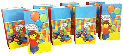 Price comparison product image Goodie and Party Favor Bags (8 pack) for Lego-Inspired Parties - Perfect for Birthday Party Favors, Lunch Bags or Popcorn