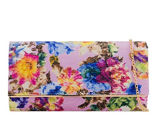 Print Floral Foldover Party Lilac N9 Hand Occasion Dressy Clutch Sequin Bags Evening Womens Ladies gwq5EXS