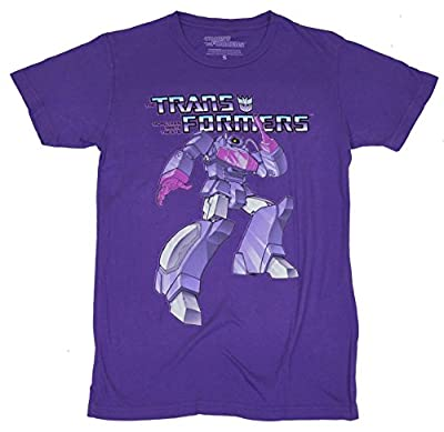 Transformers Mens T-Shirt - Shockwave Decepticon Attacking Under Logo Image