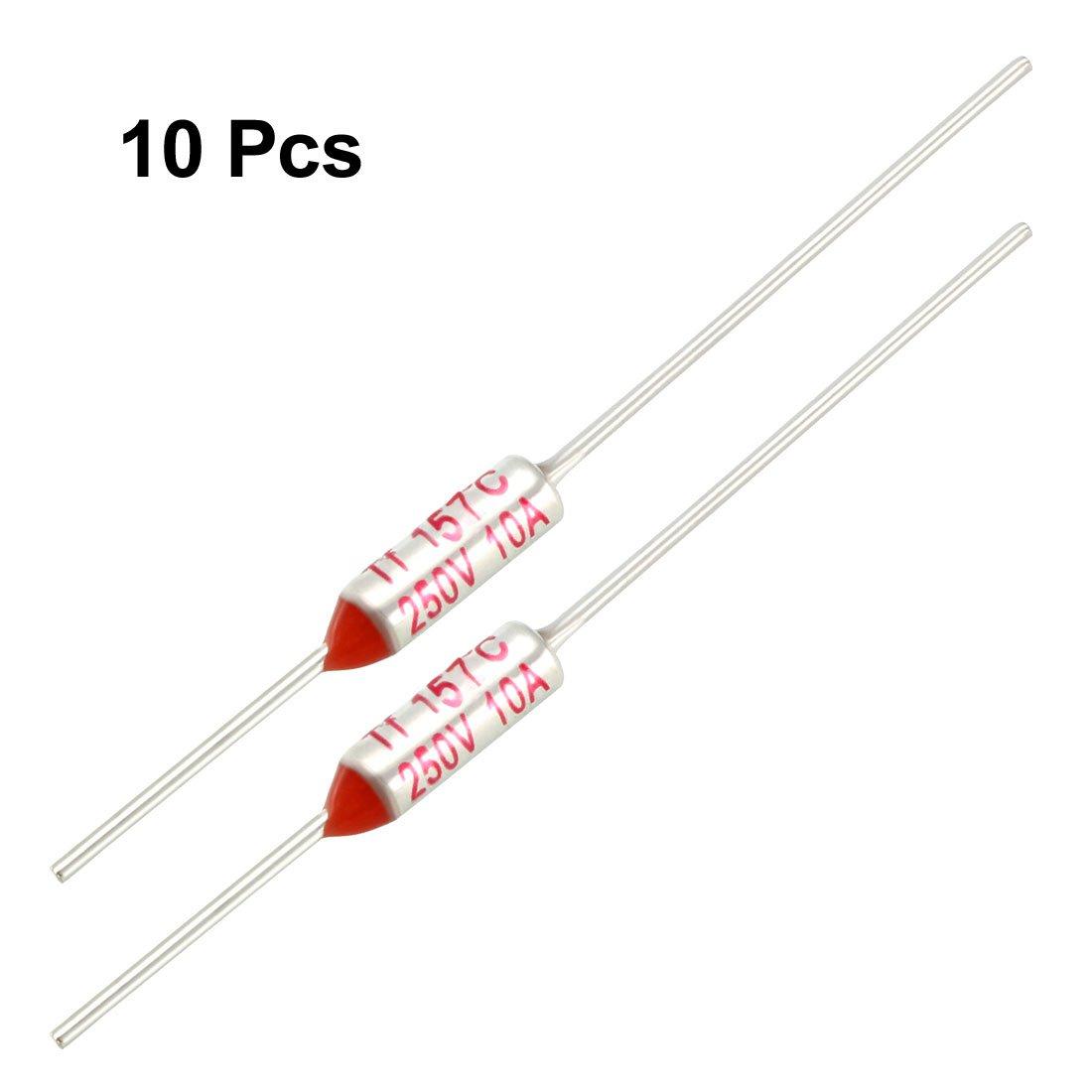 Sourcingmap Lot de 10 fusibles thermiques RY TF 157 degr/és Celsius AC 250 V 10 A Rouge Argent/é