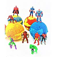 Superhero Inspired Kids Surprise Bath Bombs Party Favor Sets with Surprise Toy. All Natural & Homemade with a Texas Size Love